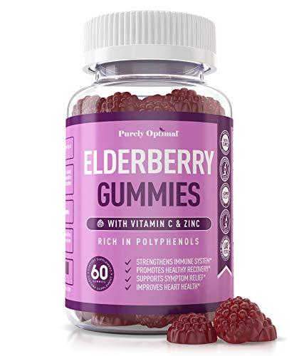 Premium Elderberry Gummies - Sambucus Elderberry Gummies for Adults - Black Elderberry Supplement with Vitamin C for Immune System, Respiratory Support & Overall Wellness - Gluten Free, 60 Gummies