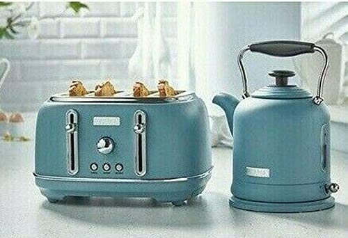 New Haden Set of Blue Kettle 1.5L 3kW H28cm Rapid Boil Electric Cordless & 4 Slice Toaster 1630W H18cm Self Centering Cancel, Re-Heat & Defrost Functions HQ Retro Glam Vintage Inspired Style