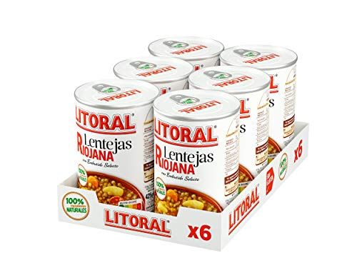 LITORAL Lentejas Riojana - Plato Preparado de Lentejas Riojana Sin Gluten - Pack de 6x430 g