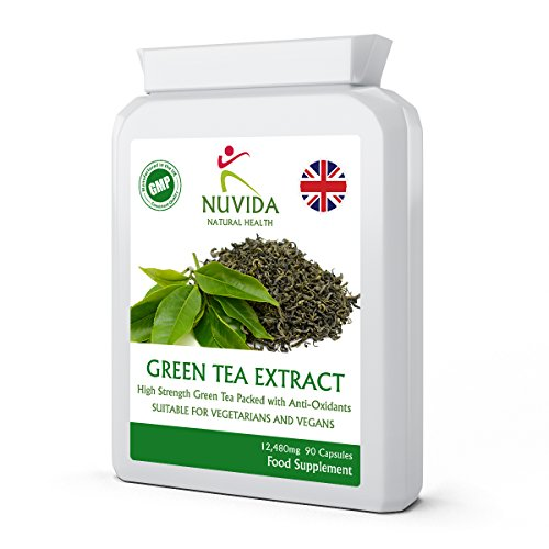Green Tea Capsules - 90 High Strength Green Tea Extract Capsules - A Natural Green Tea Supplement and Powerful Antioxidant - Vegan and Vegetarian Friendly