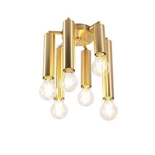 QAZQA Art Deco Vintage plafondlamp goud 6-lichts -Facil Staal Cilinder/Langwerpig Geschikt voor LED Max. 6 x 60 Watt