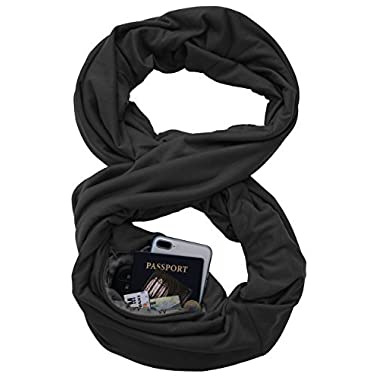TRAVEL SCARF by WAYPOINT GOODS//Infinity Scarf with Hidden Pocket (Onyx)