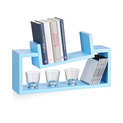 Relaxdays Estantería Decorativa de Pared, Madera MDF, Azul, 12x50x20 cm