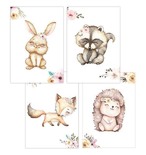 Wandbilder 4er Set für Baby & Kinderzimmer Deko Poster | Kunstdruck DIN A4 ohne Rahmen und Dekoration Tiere (Junge/Mädchen) (W08 Hase Waschbär Fuchs Igel)