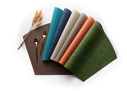 Tovaglietta in pvc a forma di ventaglio tovaglietta occidentale antiscivolo termoisolante modello di bambù tovaglietta forniture alberghiere tovaglietta, 45 * 30 cm, 7 pezzi.