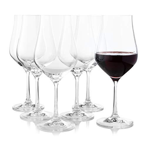 Crystalex, set di 6 bicchieri da vino rosso a stelo lungo, a forma di tulipano di cristallo, ideali per Bordeaux, Merlot, vino rosso o bianco, unico ed elegante, trasparente universale da 450 ml