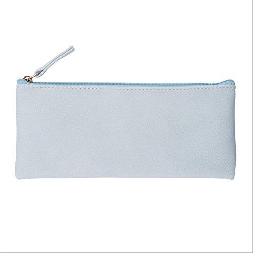 WeiMay Simple Bleu clair PU Stylo Sac Petit frais Sac cosmétique Filles Sac de téléphone Changer bourse 190 X 80 mm