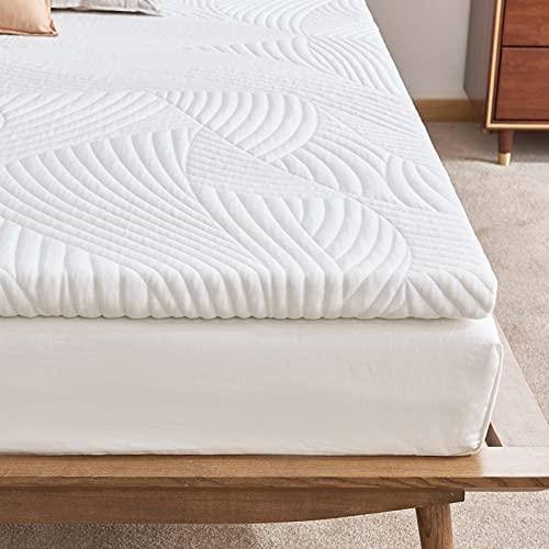 Sweetnight Matratzentopper 90x200 cm, Viscoelastische Matratzenauflage Gelschaum Topper 90 x200, 5 cm Höhe Gel Memory Foam Topper,Matratzen Topper mit Abnehmbarem und Waschbarem Bezug,Weiß