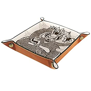 Folding Dice Tray PU Leather Dice Holder Rolling Trays for RPG Dice Gaming D&D and Other Table Games,Dragon Tattoo Animal