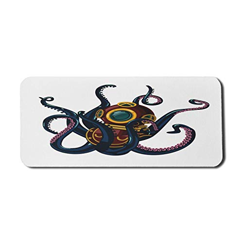 Vintage Nautical Tattoo Computer Mauspad, lustige bunte Krake und lockige Tentakel im Retro-Taucheranzug, Rechteck rutschfeste Gummi Mousepad X-Large Gaming-Größe, Marineblau
