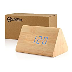 GEARONIC TM Modern Triangle Wood Clock Digital LED Wooden Alarm Clocks Digital Desk Thermometer Classical Timer Calendar - Bamboo