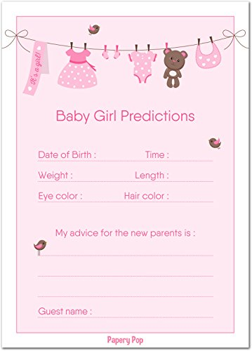 30 Baby Shower Prediction and Advice Cards for The Baby Girl (30 Pack) - Baby Shower Games Decorations Activities Supplies Invitations