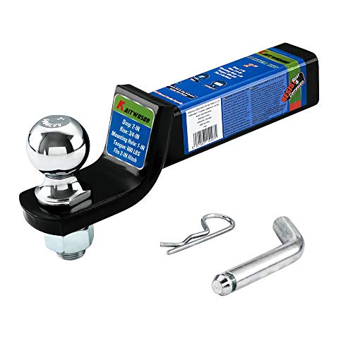 KAITWOSON 52003 Trailer Hitch Ball Mount with 2 inch Hitch Ball & Pin, Fits 2 Inch Receiver, Hollow Shank Ball Hitch,Black,6000lbs