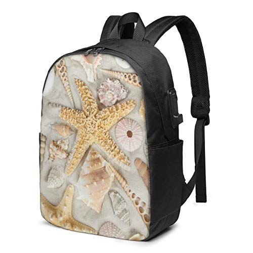 Seashells Starfish On White Sand Printed Travel Lightweight Backpack with USB Charging Port & Headphone Port