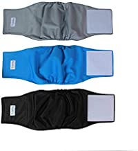 Teamoy Reusable Wrap Diapers for Male Dogs, Washable Puppy Belly Band Pack of 3 (S, 10''-13''Waist, Black+ Gray+ Lake Blue)