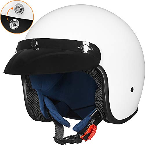 Open Face Half Motorcycle White Helmet DOT Approved Retro Fit Adult