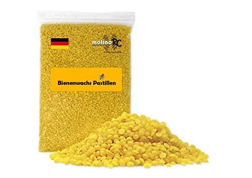 500g 100% Reine Bienenwachs Pastillen 500 Gramm 0,5kg | Perfekt für Kosmetik & Kerzen Bienenwachstücher Herstellung | 100% natur | Biene | deutsche Marke molinoRC®