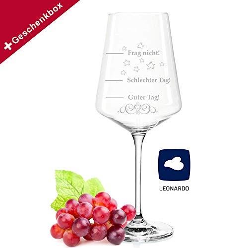Leonardo Puccini Weinglas - Schlechter Tag Guter Tag - Frag nicht! - 750ml - Geburtstagsgeschenk - Lustiges Geschenk - Originelles Geschenk - Stimmungsglas