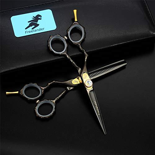 Panpan Ciseaux en Acier Inoxydable Professionnel Barber-Gauchers Coiffure Texturizing Salon Rasoir Scissor Set 5.5 Pouces avec Tension réglable Vis,Noir