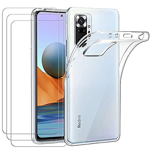 ivoler Hülle für Xiaomi Redmi Note 10 Pro, mit 3 Stück Panzerglas Schutzfolie, Dünne Weiche TPU Silikon Transparent Stoßfest Schutzhülle Durchsichtige Handyhülle Kratzfest Hülle