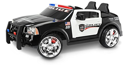Kid Trax Dodge Police Car Toddler Ride On Toy, Ages 3 - 7 Years Old, 12 Volt Battery, Max Weight of 130 lbs, Two Seater, Working Lights, Dodge Pursuit