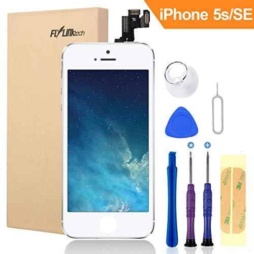 FLYLINKTECH Für iPhone 5s/se Display Weiß, LCD 3D Touchscreen Digitizer Assembly mit Werkzeuge und Displayschutzfolie Für iPhone 5s Schwarz (Weiß)