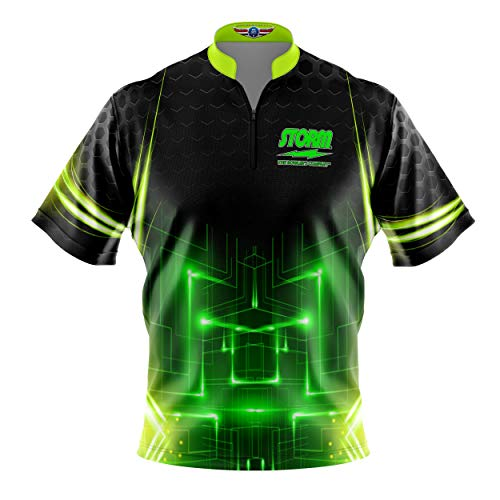 Logo Infusion Bowling Dye-Sublimated Jersey (Sash Collar) - Storm Style 0081 (L) Green Yellow