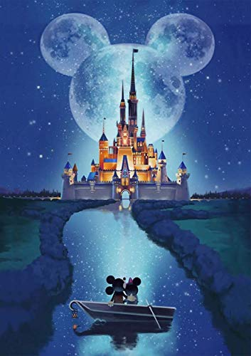 DIY 5D Diamond Painting Disney by Number Kits, Cross Stitch Full Drill Suitable for Home Decoration Handmade Paintings for Kids and Adults (Disney Castle)