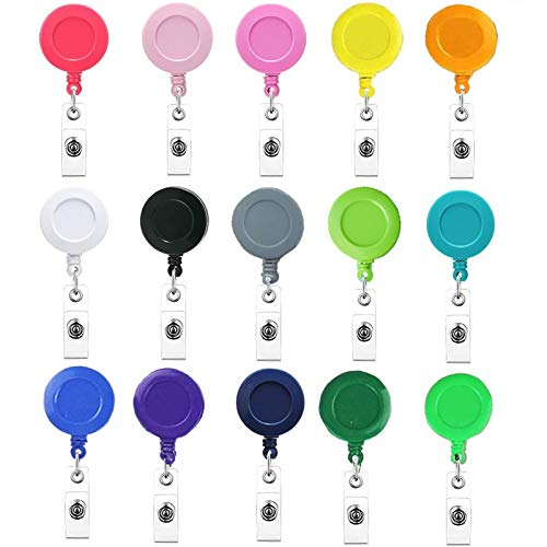Retractable Badge Reels,30 Pack Badge Clips Holder for Name ID Card Key Card, 15 Colors