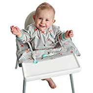 Bibado Wipe Clean Baby & Toddler Weaning Bib Coverall Attaches to Highchair & Table Waterproof (Wood...