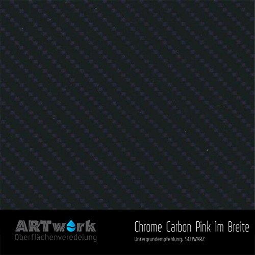 Wassertransferdruck Folie ARTwork Chrome Carbon Pink 1m Breite WELTNEUHEIT !!!
