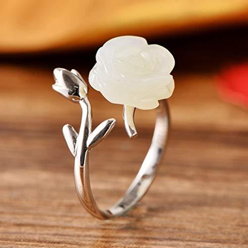 Meilandeng Verstellbarer Ring S925 aus Sterlingsilber mit eingelegtem Jade-Rosetten-Schmuck. Offener Ring für Damen