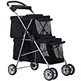 Dog Stroller Cat Stroller Pet Carriers Bag Jogger Stroller for Small Medium Dogs Cats Travel Camping 4 Wheels Lightweight Waterproof Folding Crate Stroller with Soft Pad (Black)
