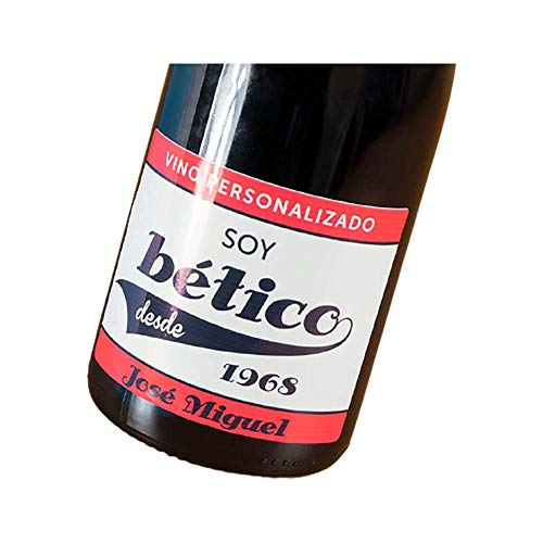 Botella de vino para futboleros personalizada con equipo de fútbol, año de nacimiento y nombre