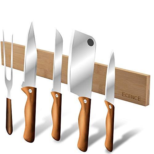 ECENCE Bambus Messerleiste magnetisch, 40cm, Messerhalter zur Wandmontage, Messer Magnetleiste mit starker Haftung, Werkzeugleiste, Schlüsselbrett, natürliches Holzdesign