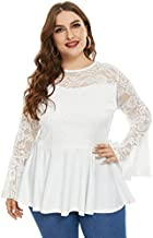 Stretchy Lace Flare Long Sleeve Peplum Blouse Tops for Women Plus Size White 24W