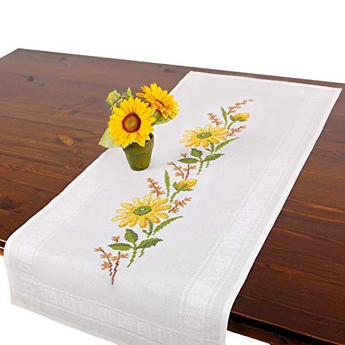 Stickpackung GELBE Blumen, komplettes vorgezeichnetes Kreuzstich Tischdecken Set, Herbst Tischläufer Stickset mit Stickvorlage zum Selbersticken
