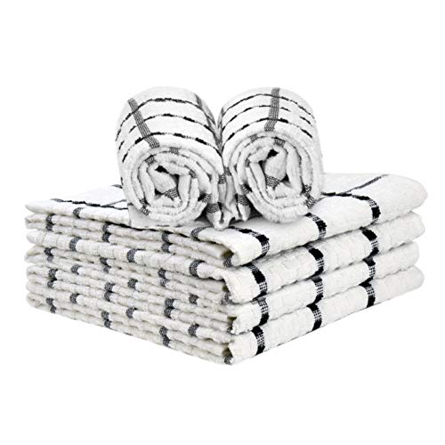 Talvania Kitchen Towels 100 Cotton Dobby Weave Terry Towel Set 15 X 25 6 Pack Soft and Absorbent Multipurpose Dish Cloth Hand Towel and All Kitchen Cleaning Machine Washable White