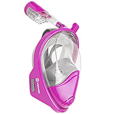 Seaview 180° GoPro Compatible Snorkel Mask- Panoramic Full Face Design. See More With Larger Viewing Area Than Traditional Masks. Prevents Gag Reflex with Tubeless Design (Lotus, L/XL)