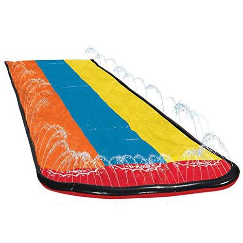 Hualieli Toboganes acuáticos de césped de 18 pies, tobogán acuático Duradero Rainbow Triple Racing Splash Garden con un cojín de Choque de rociadores para niños Adultos Juguete de Agua al Aire Libre