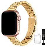 HEKAI Metal Straps Compatible with Apple Watch Strap 38mm 42mm 40mm 44mm, Slim Small Adjustable Stainless Steel Replacement Band for iWatch Series 6&5/4/3/2/1,SE,Edition Women (38mm/40mm, Golden)