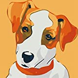 Arte Vita DIY Acrylic Painting, Paint by Number Kits for Kids Beginner - Jack Russell Terrier Dog 8' x 8'