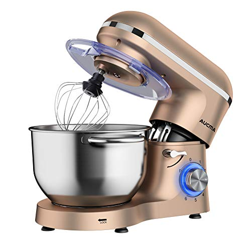 Aucma Stand Mixer,6.5-QT 660W 6-Speed Tilt-Head Food Mixer, Kitchen Electric Mixer with Dough Hook, Wire Whip & Beater (6.5QT, Champagne)