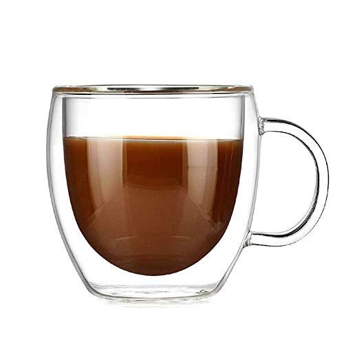 GZSC Reutilizable Taza de café 150 ml Resistencia al Calor Taza de Vidrio de Doble Pared con el Mango Tazas de café Taza de té Kungfu Taza de Jugo de Leche de café Taza de Bebida Saludable