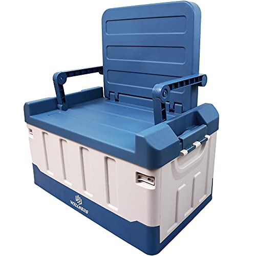 WELLHONG Collapsible Plastic Storage Bins With Seat, Totes For Storage as SUV & Car Trunk Organizer, Camping Box, Folding Kids' Chair, 15.3 Gallon/61.2 Quart, Light Blue