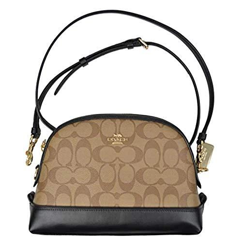 Coach Womens F76674 Signature Dome Crossbody Bag, Khaki/Black