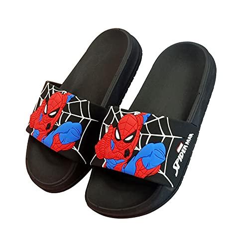 MYYLY Zapatillas para Niños Cosplay Spiderman Flip Flop Sandalias Playa para Niños Ducha Baño Plantilla Antideslizante Chica Junto Piscina Sandalia Superhéroe,Black- 200~Internal Length 19.5 CM