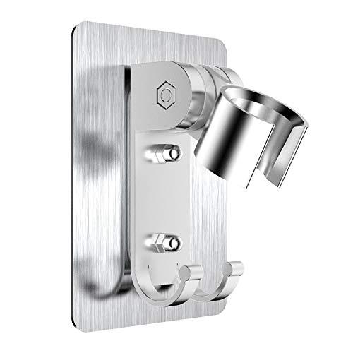 Soporte de ducha, no es necesario perforar agujeros para instalar pegamento fuerte con agujeros de montaje de tornillo, el soporte se puede ajustar 90 grados, adhesión fuerte, resistente al agua ✅