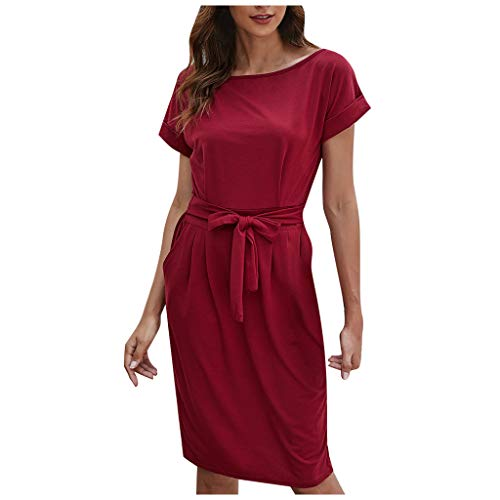 TOPSELD Damen Kleid Kurzarm Casual Rundausschnitt Tops Longshirt(Rot,M)