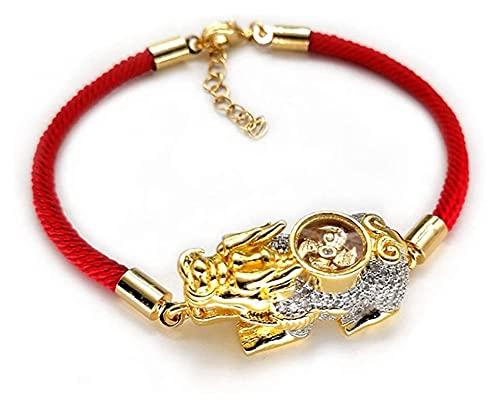 XIAOGING ROPO Rope Feng Shui Pulsera de Oro Color de Oro Pixiu/PIYAO Accesorios Diamantes Mano Tejida Ajustable Atraying Buen Suerte Amor de Riqueza por Hombres/Mujeres